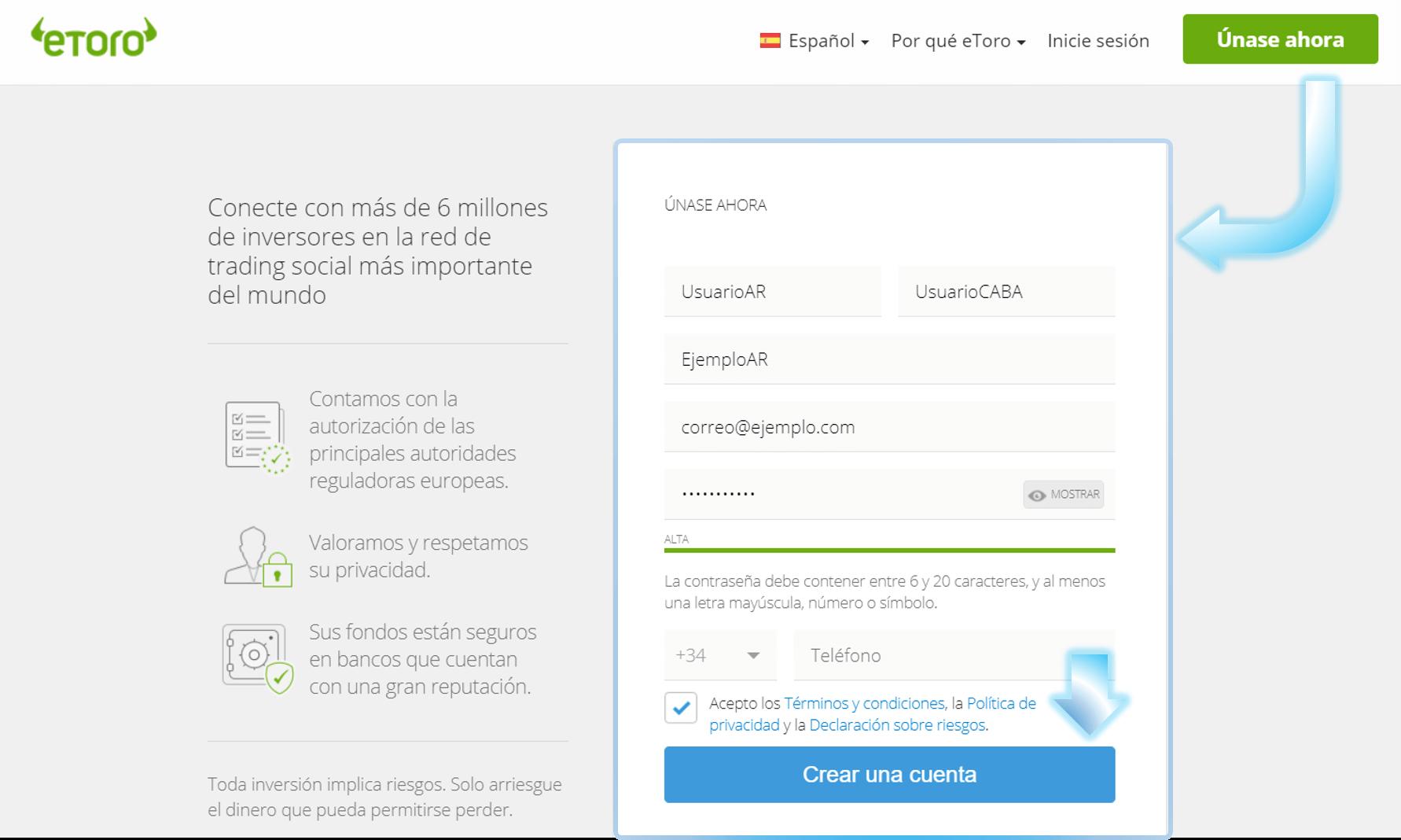 Crear cuenta eToro Argentina