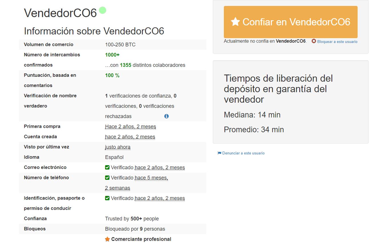 Datos de vendedor LocalBitcoins