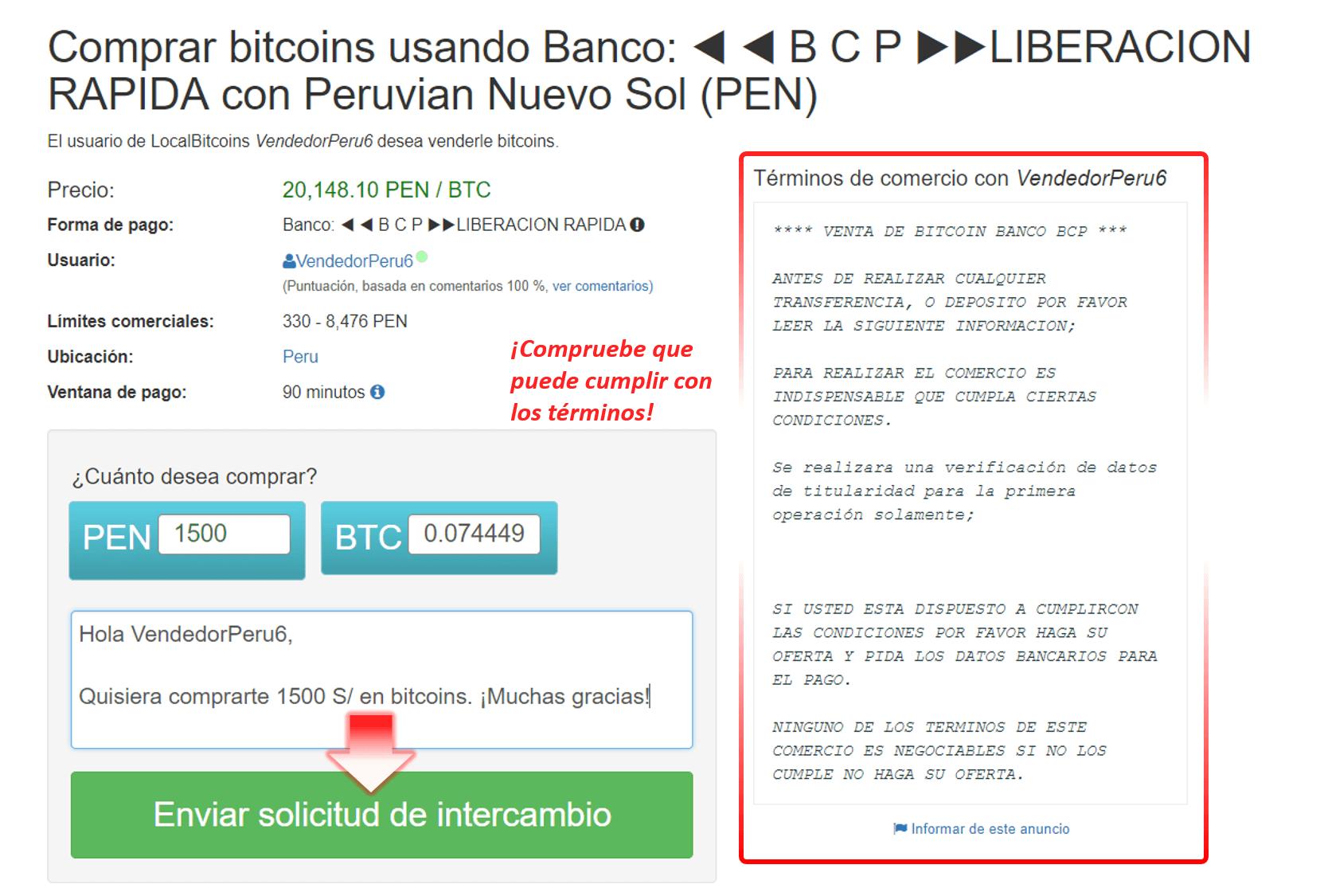 Ejemplo de compra BTC en LocalBitcoins Perú