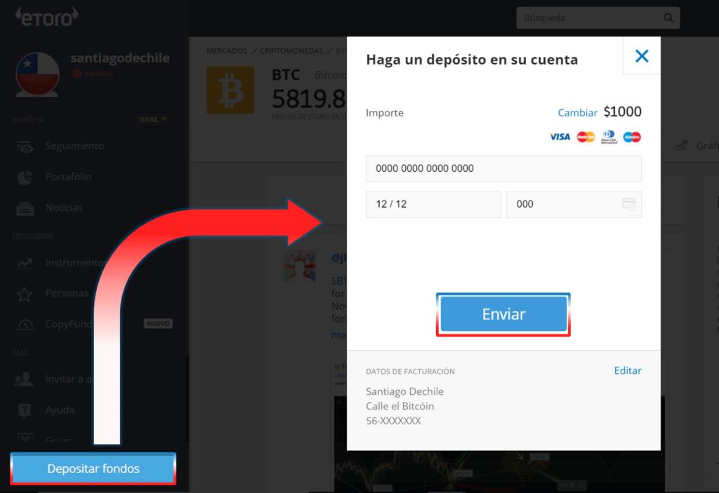 Depositar fondos eToro Chile