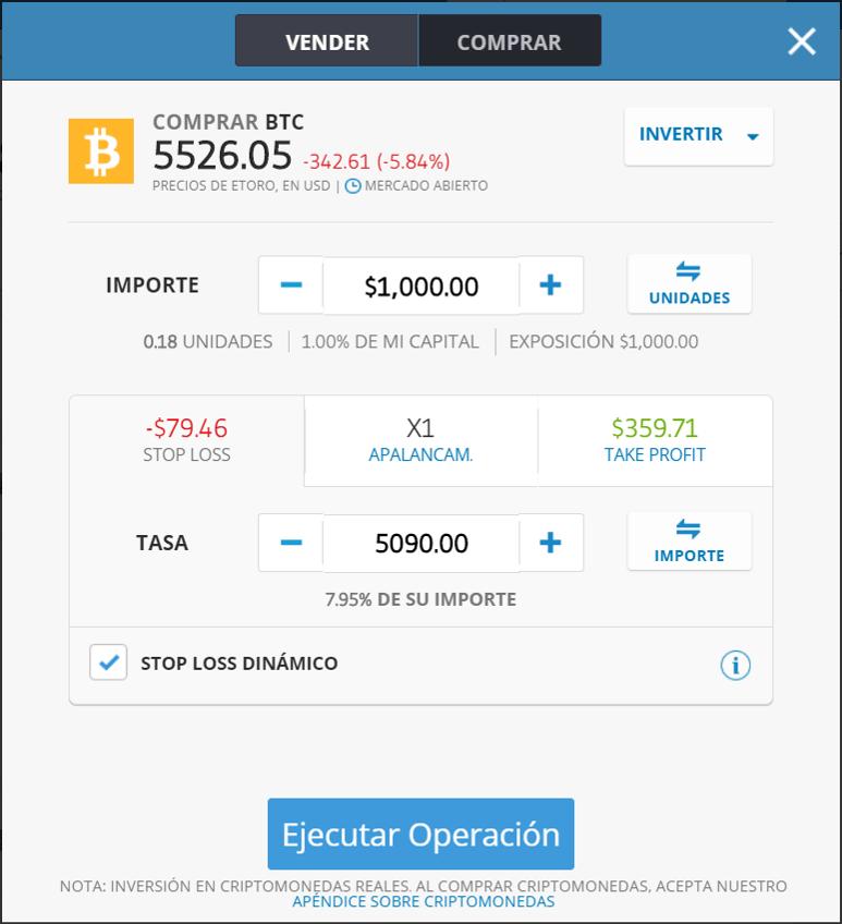 Ejemplo orden Bitcoin