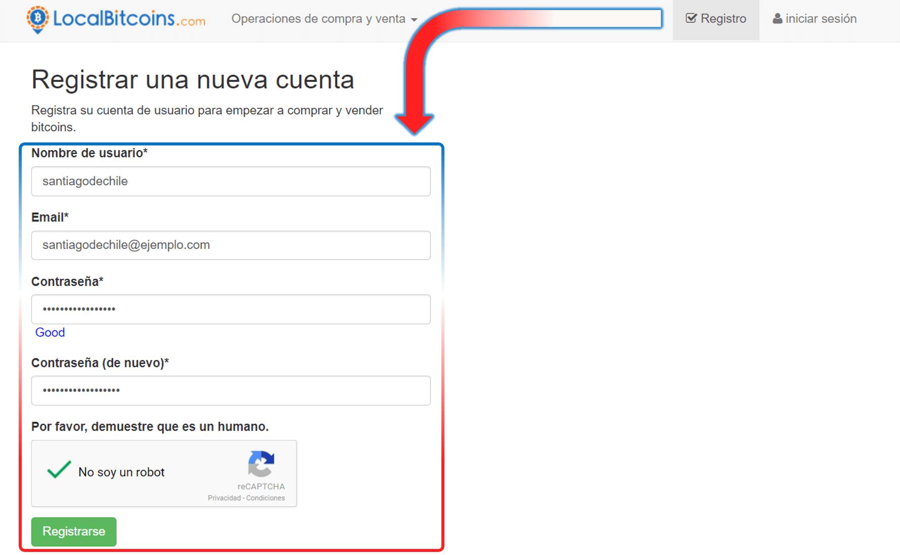 Crear cuenta LocalBitcoins Chile