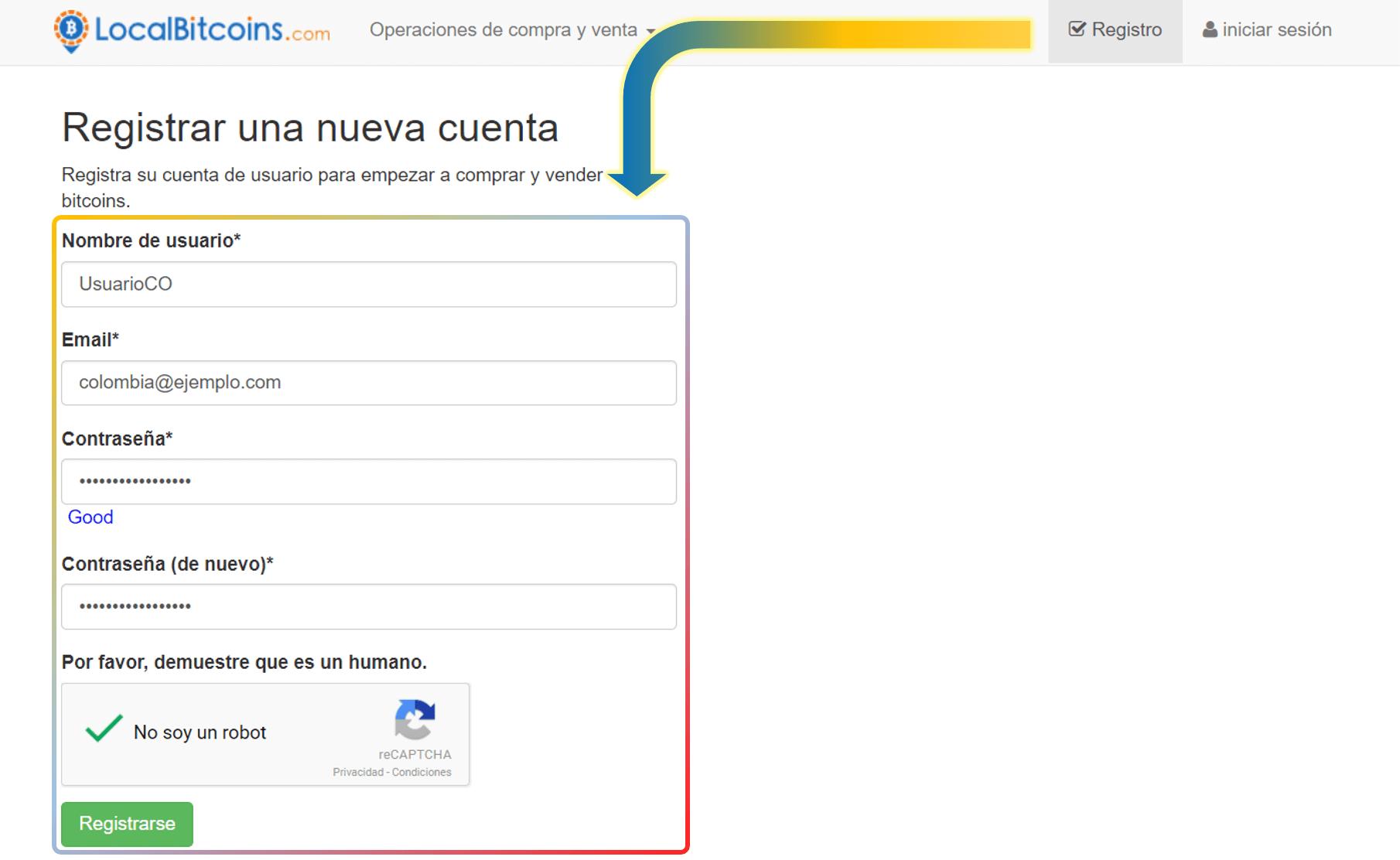 Crear cuenta LocalBitcoins