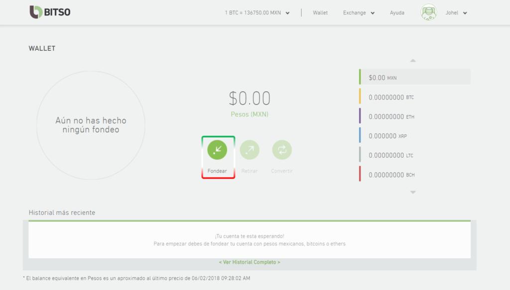 Agregar fondos cuenta Bitso
