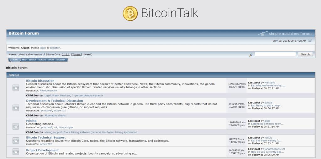 Bitcointalk página principal
