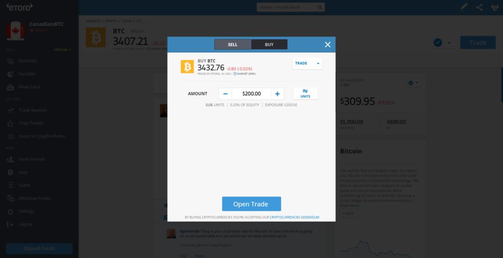 Buy Bitcoins in Canada with eToro