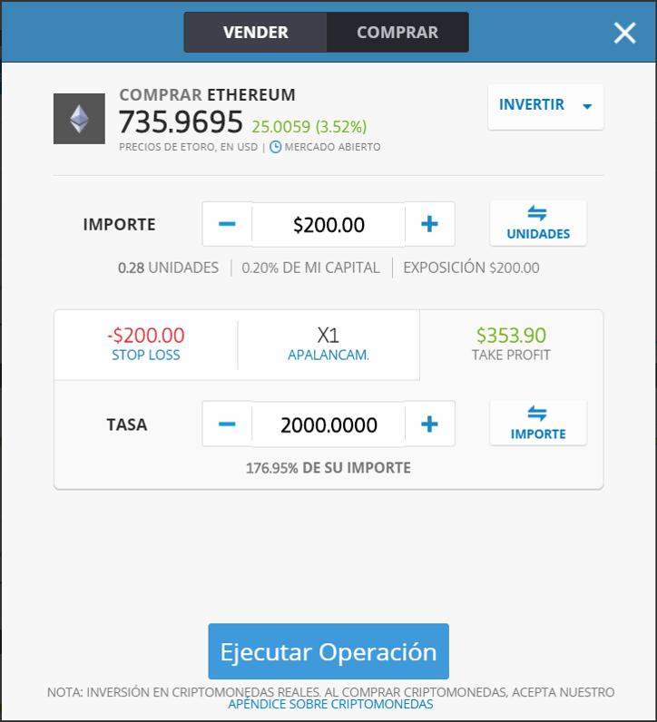 Comprar Ethereum México ejemplo eToro
