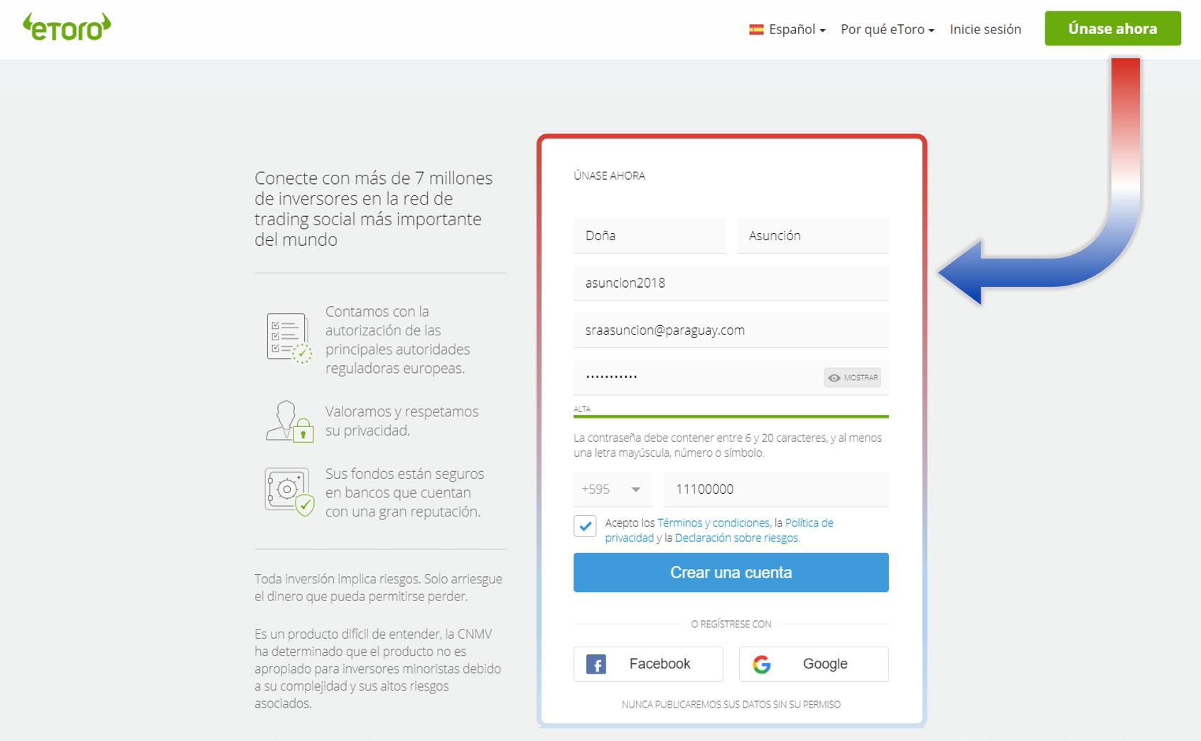 Crear cuenta eToro Paraguay