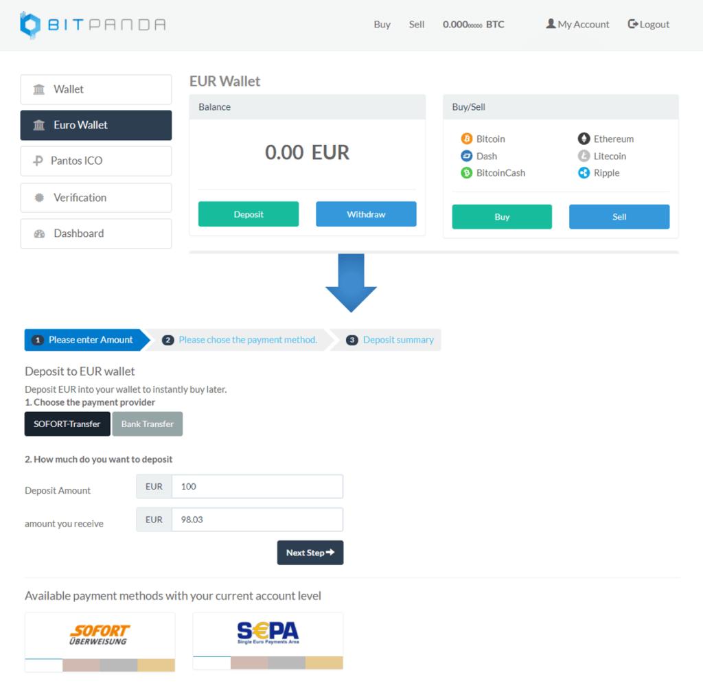Depositar fondos Bitpanda