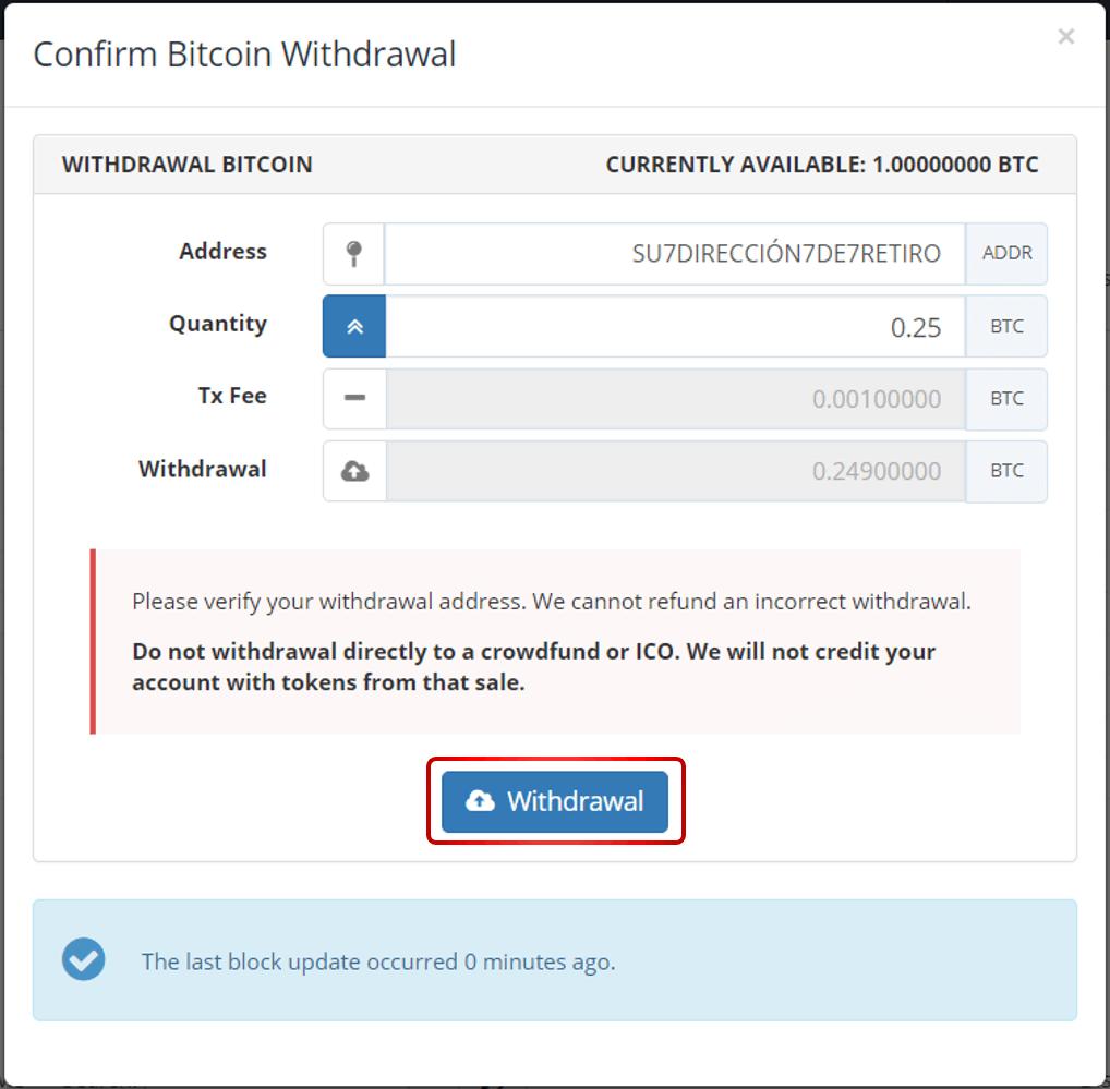Ejemplo retiro bitcoin Bittrex