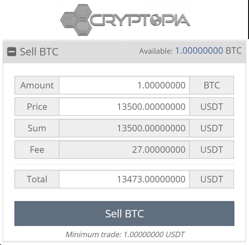 Ejemplo vender bitcoins Cryptopia