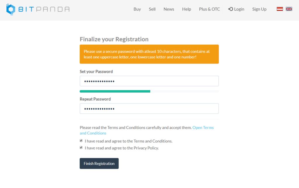 Finish Registration bitpanda