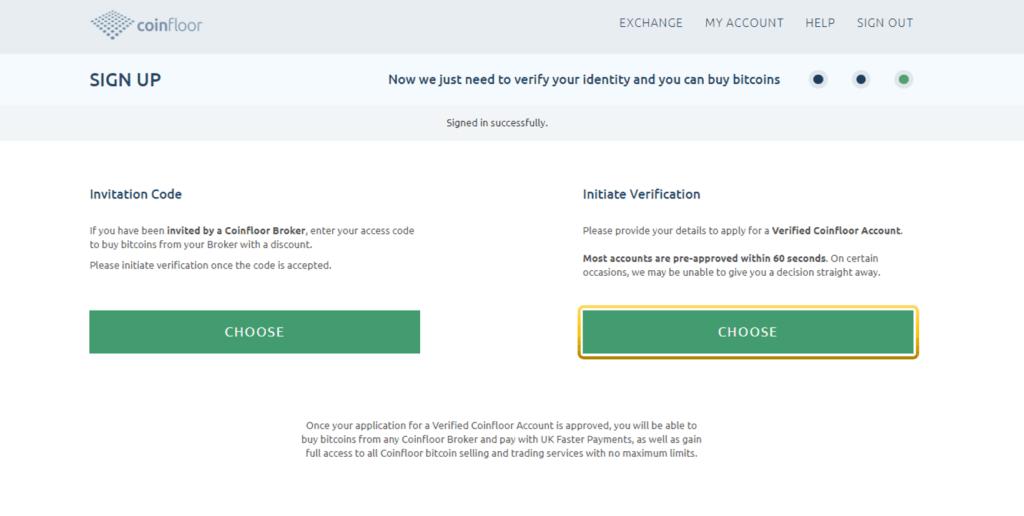 Iniciar verificación Coinfloor