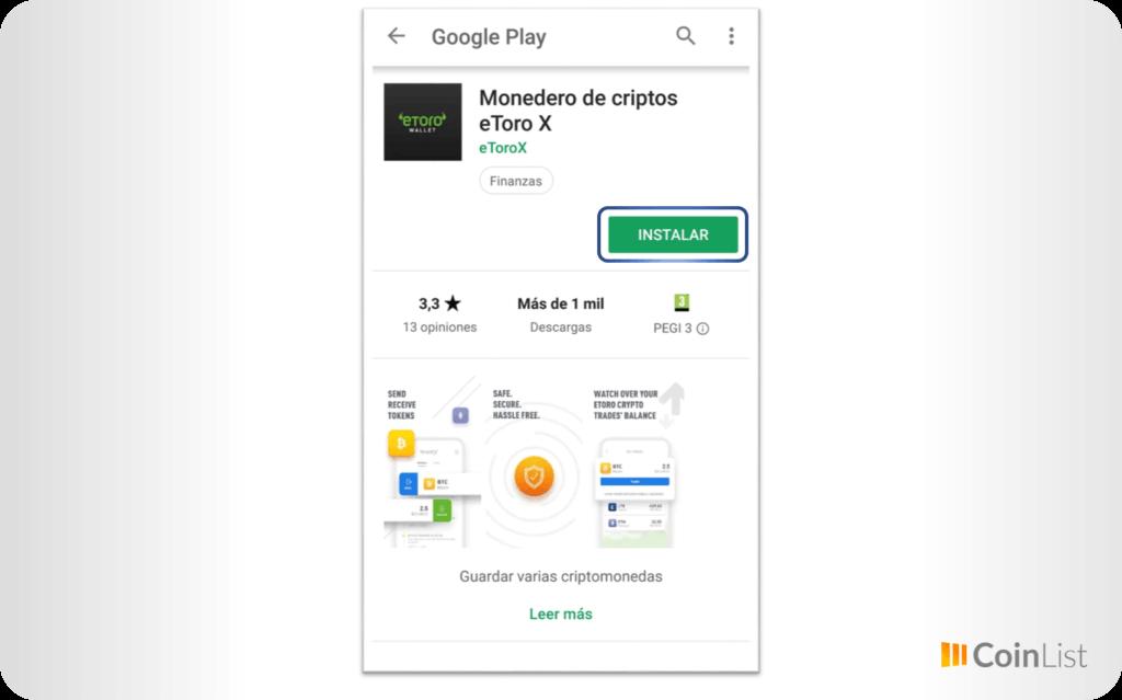 Instalar eToro Wallet Android 3