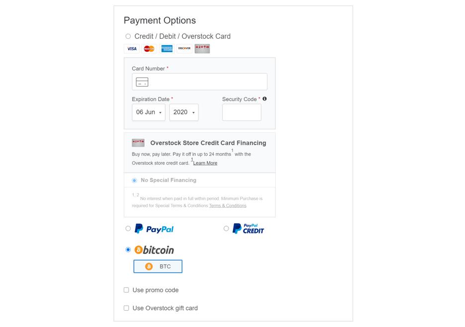 Payez avec Bitcoin sur overstock.com