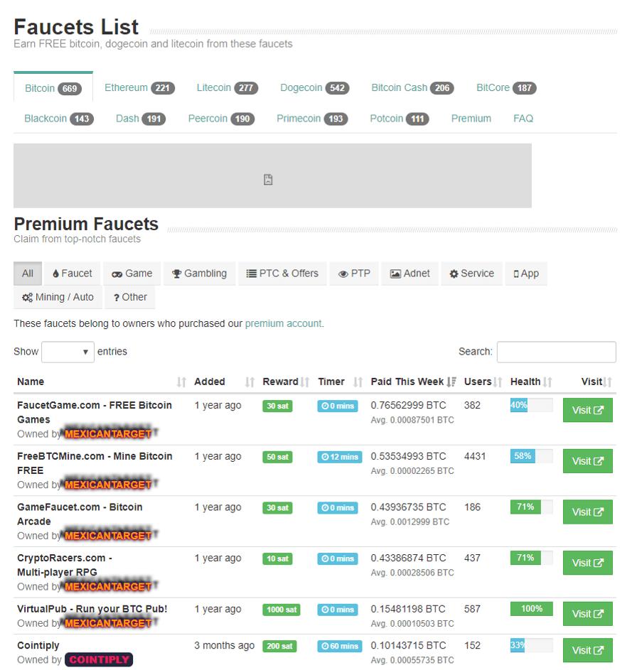 Lista de faucets disponibles
