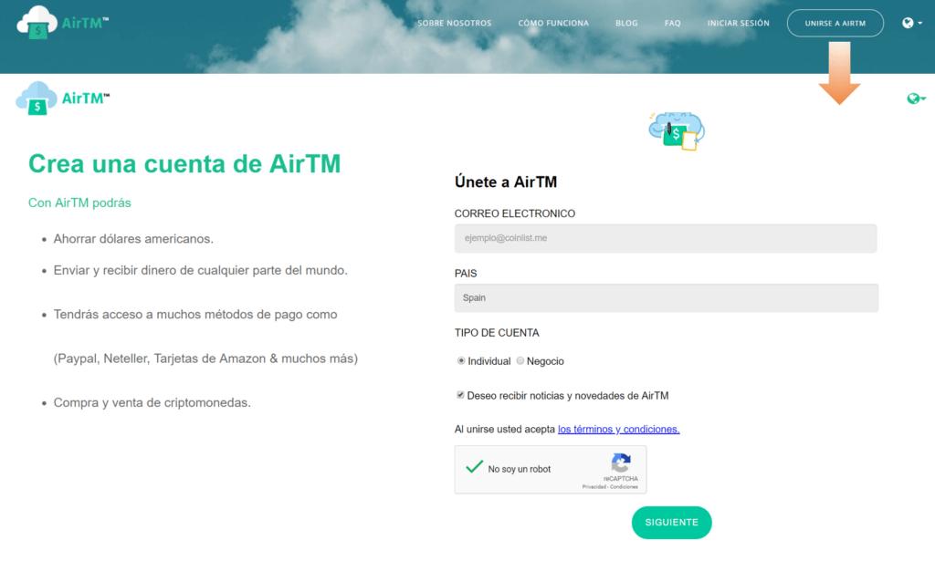 Crear cuenta en AirTM