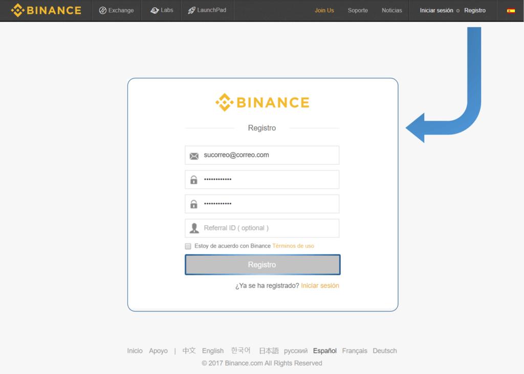 Comprar EOS - Registro Binance