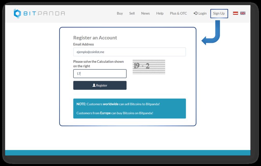 Registro Bitpanda