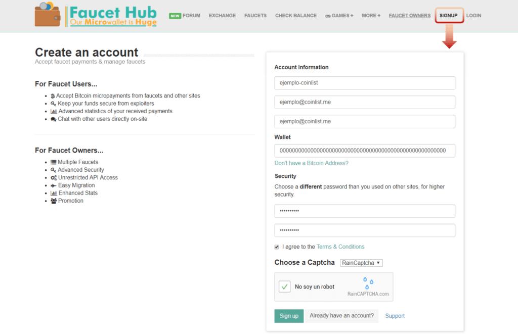 Registro FaucetHub