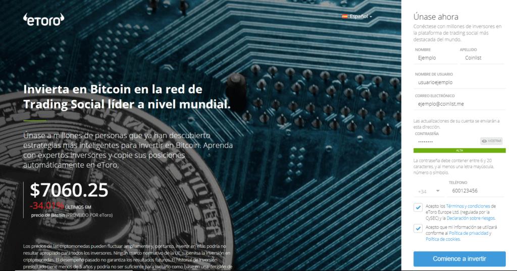 Registro en eToro Venezuela