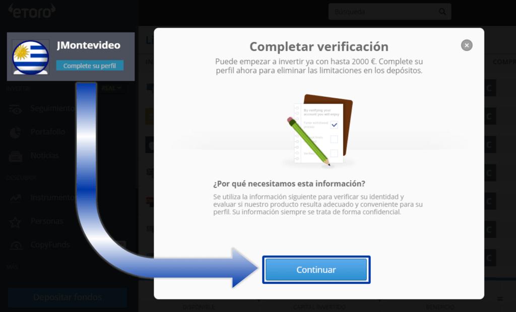 Verificar cuenta eToro Uruguay