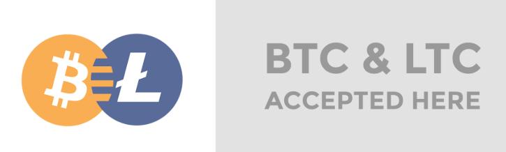 Bitcoin et Litecoin acceptés par SurfAir Express - logos LTC et BTC
