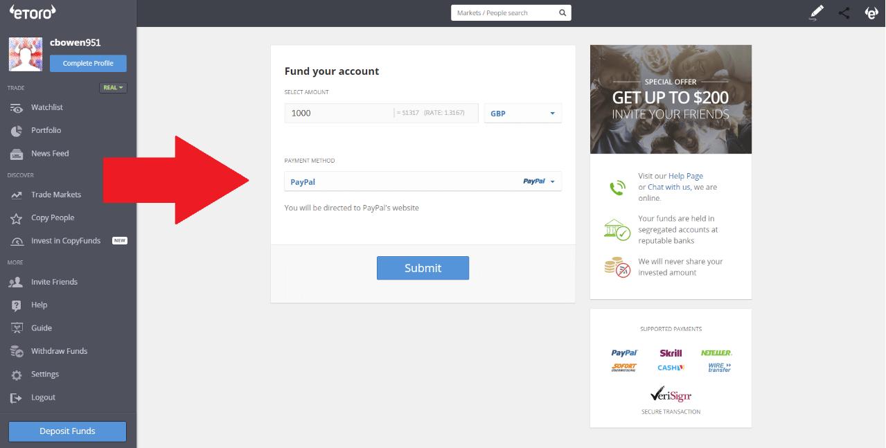 eToro - Paypal Step 2