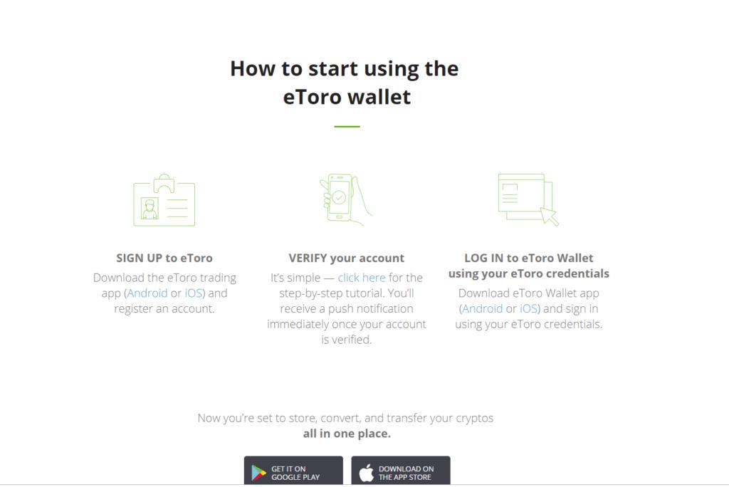 etoro wallet set up