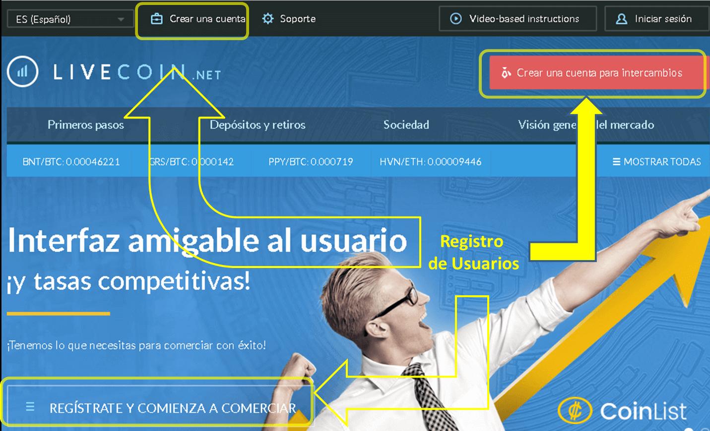Registro en Livecoin