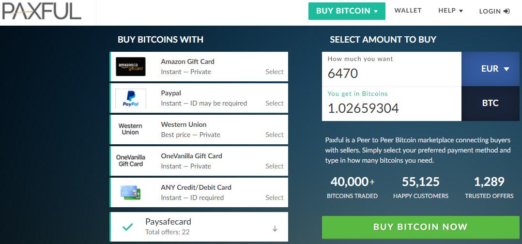 Acquistare bitcoin con credito Paysafecard su Paxful