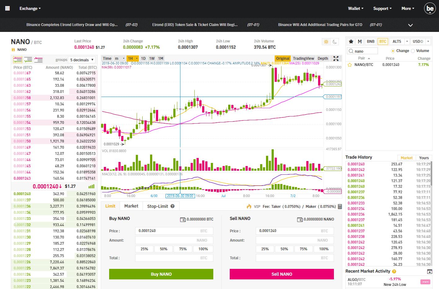 binance exchange buy nano