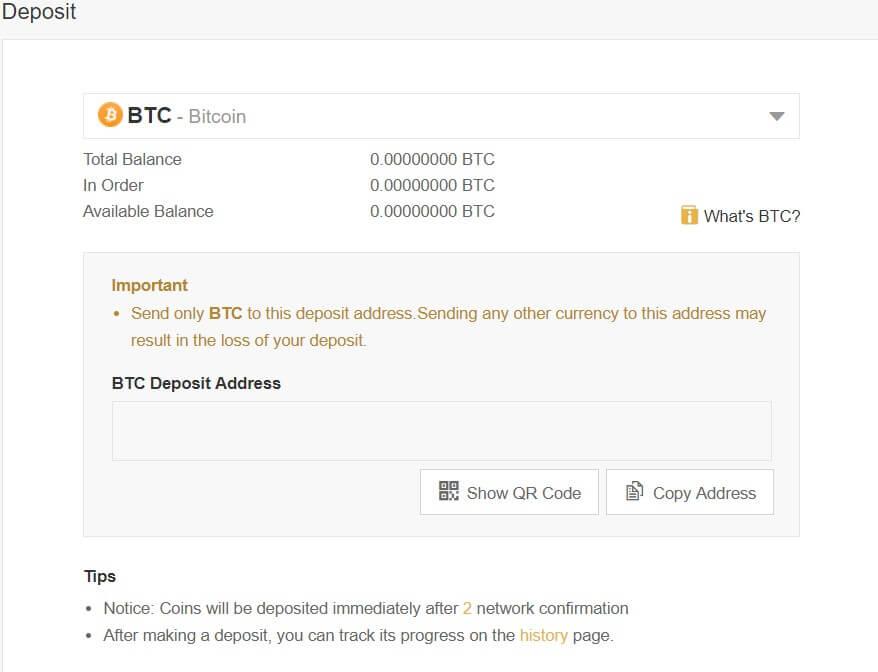 Deposita bitcoin su Binance