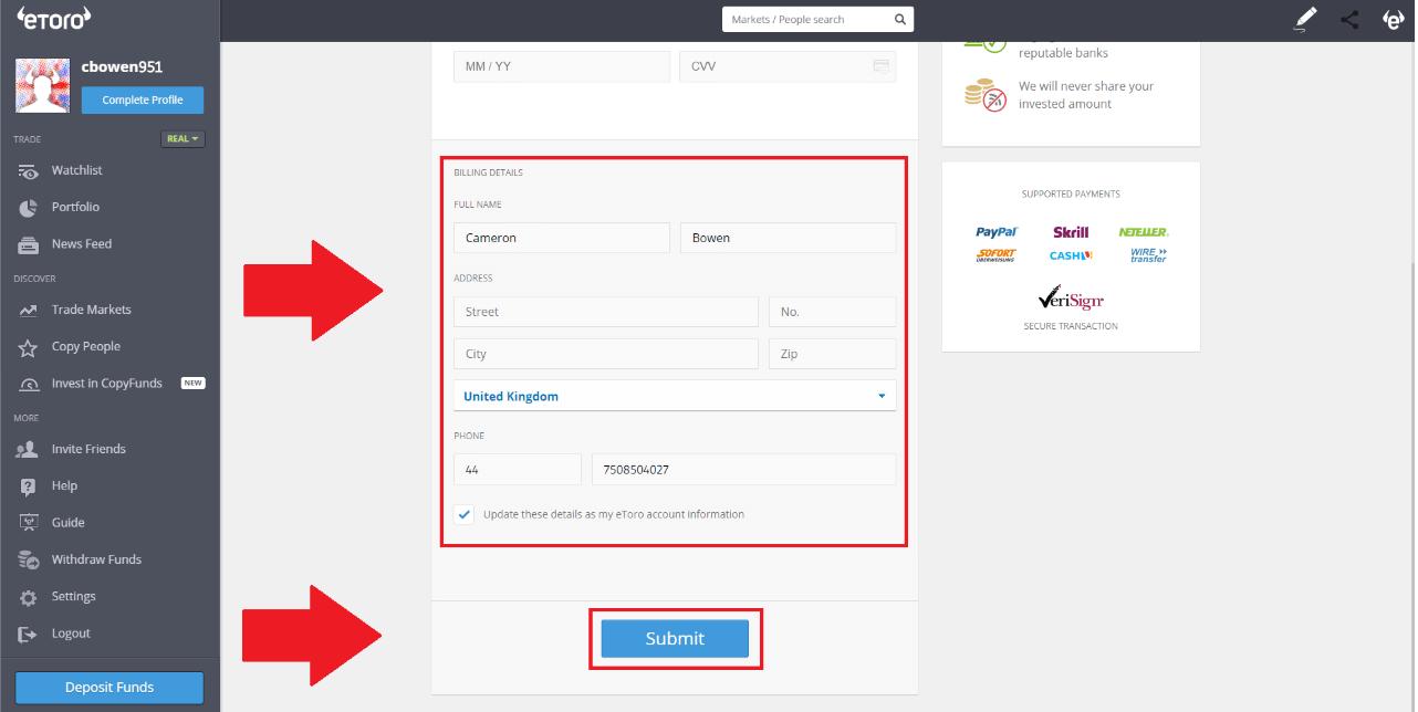 eToro - Billing Details