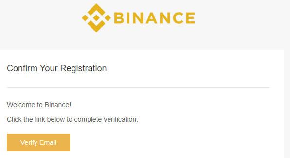 Email di verifica Binance