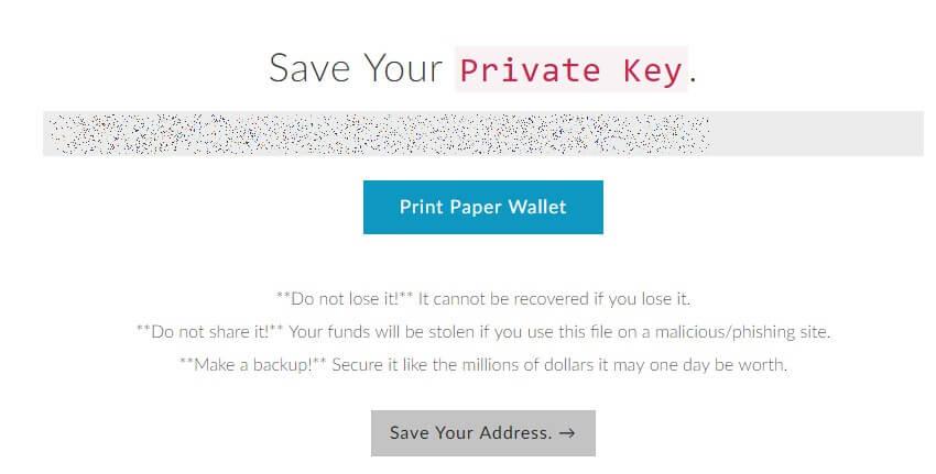 Salva chiave privata MEW