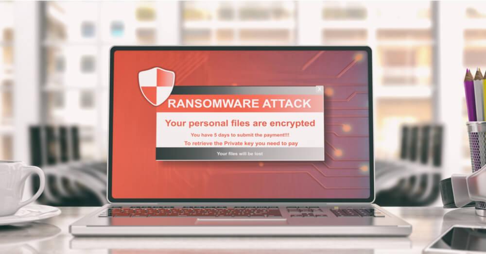 Alerte de ransomware sur un écran d'ordinateur