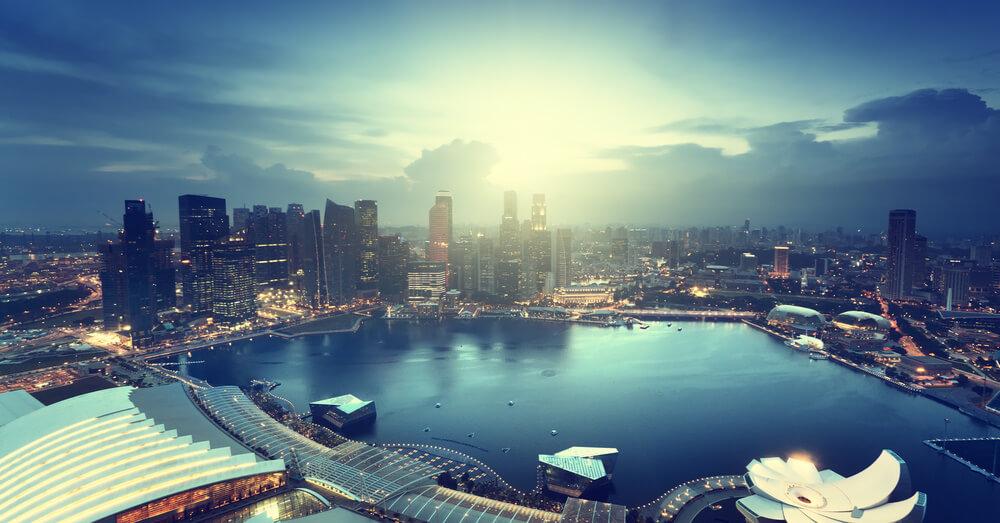Image of Singapore city with sunset